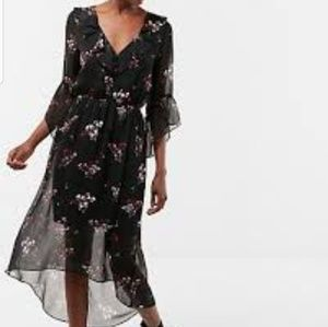 New Express Flowy Hi Low Dress Black Floral